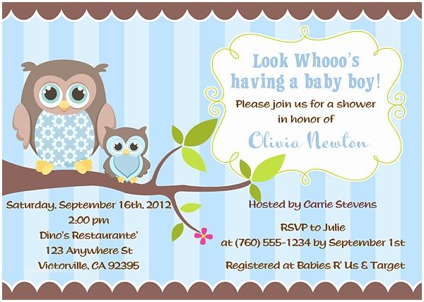 Owl Invitations for Baby Shower Boy Baby Shower Invitations Owl
