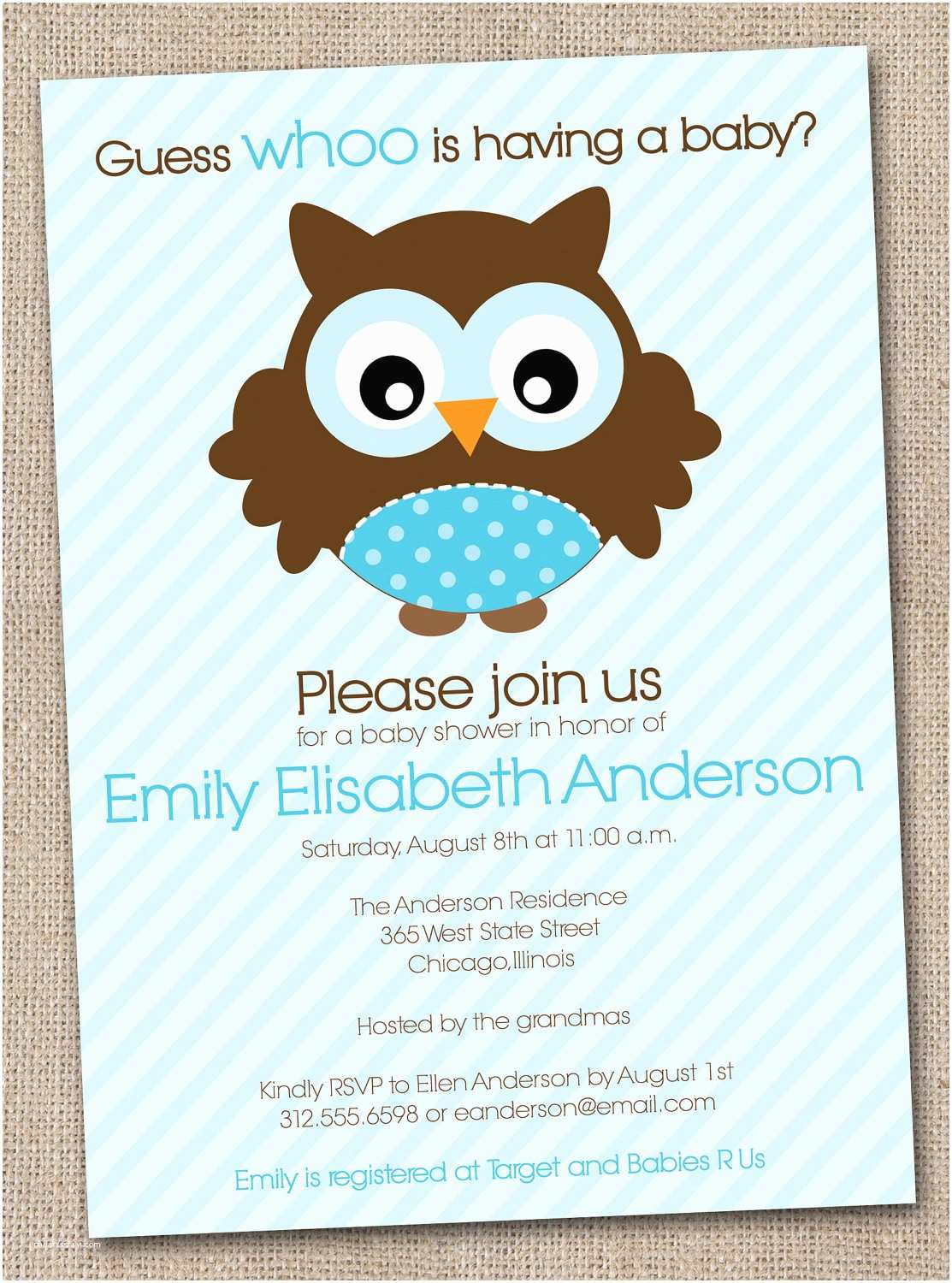 Owl Invitations for Baby Shower Boys Baby Shower Invitation Blue Owl Printable Digital File