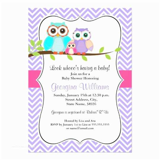 Owl Invitations for Baby Shower Cute Owl Girl Baby Shower Invitation Pink & Purple