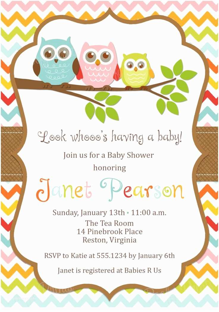 Owl Invitations for Baby Shower Etsy Baby Shower Invitations