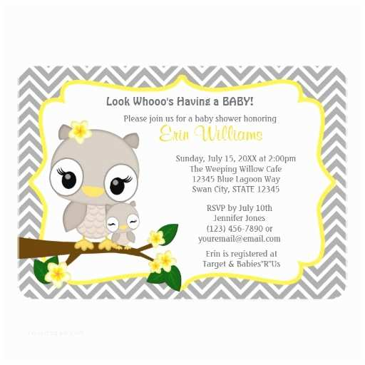 Owl Invitations for Baby Shower Owl Baby Shower Invitation Chevron Gray Yellow 160