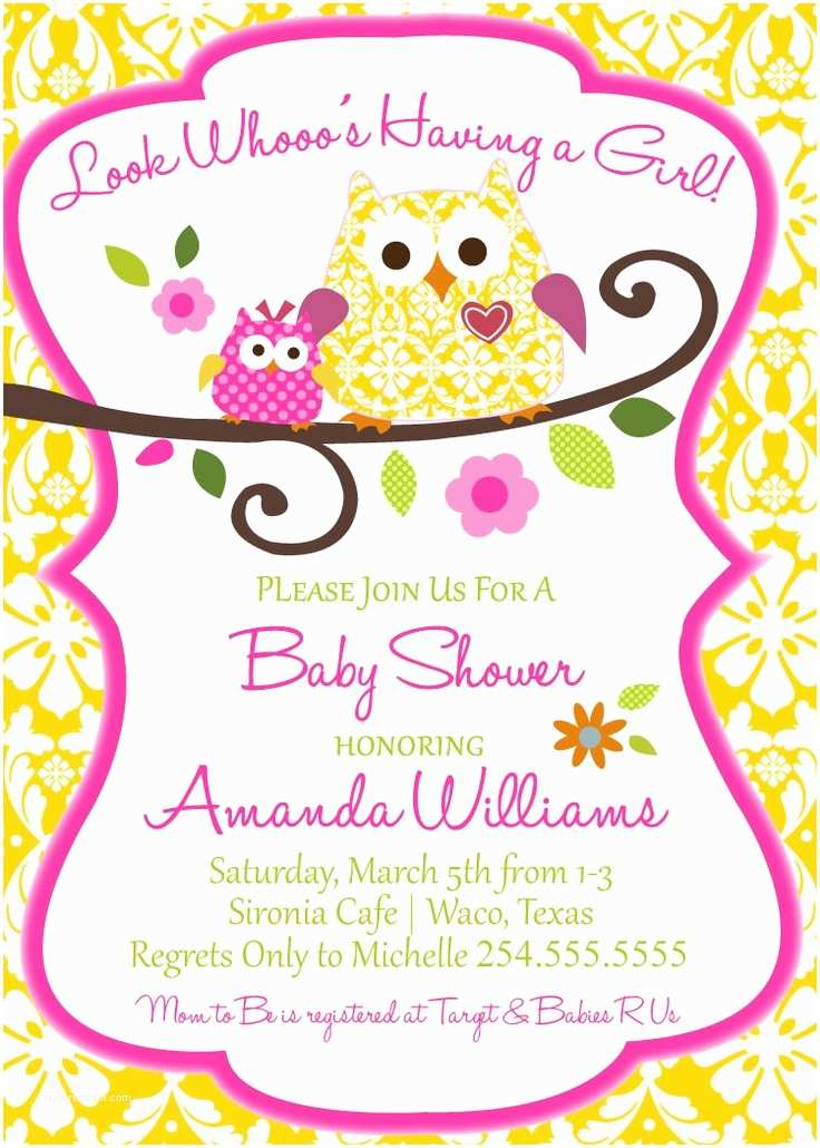 Owl Invitations for Baby Shower Owl Baby Shower Invitation Digital File Ly