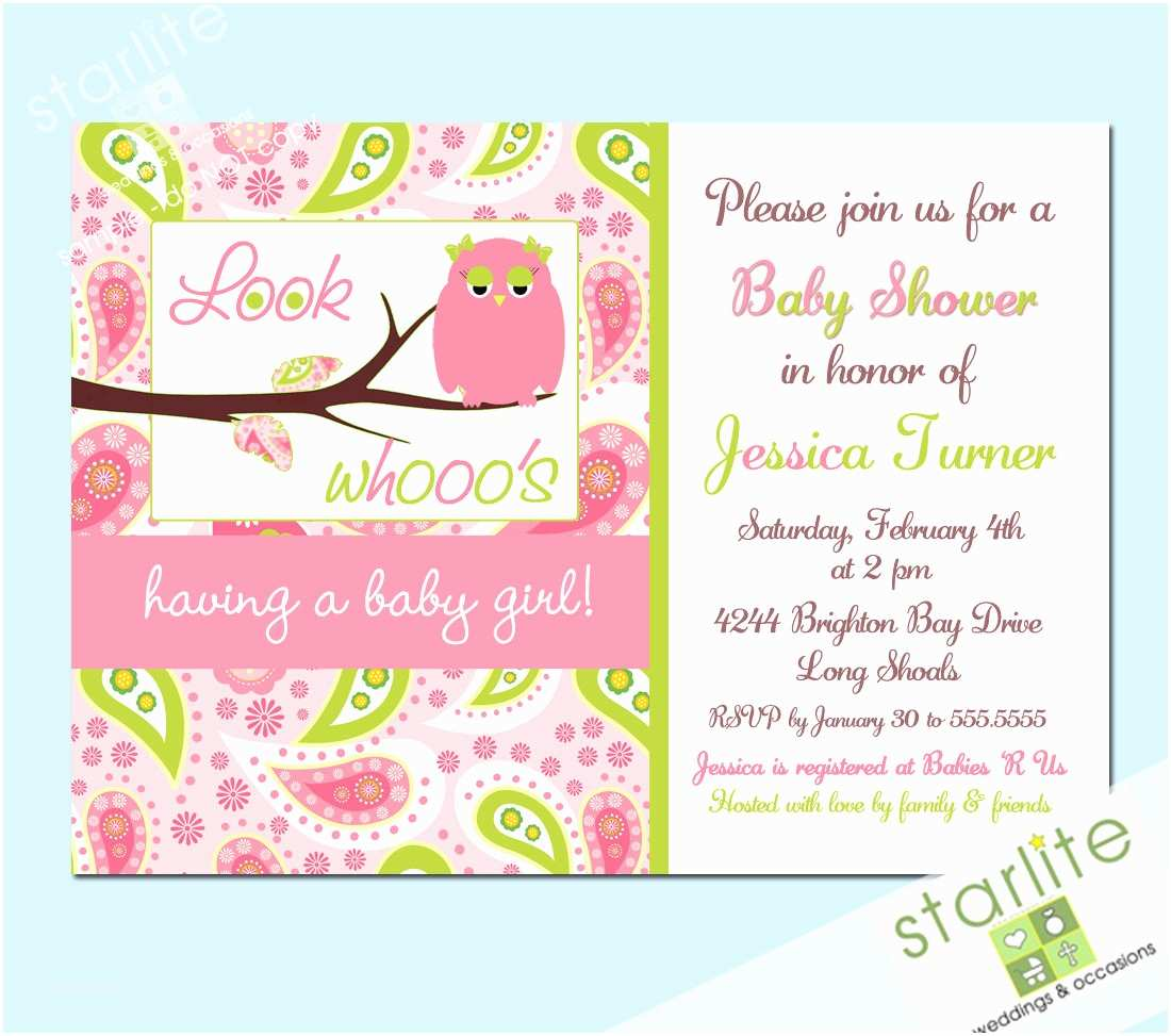 Owl Invitations for Baby Shower Owl Baby Shower Invitation Owl with Paisleys Pink by Starwedd