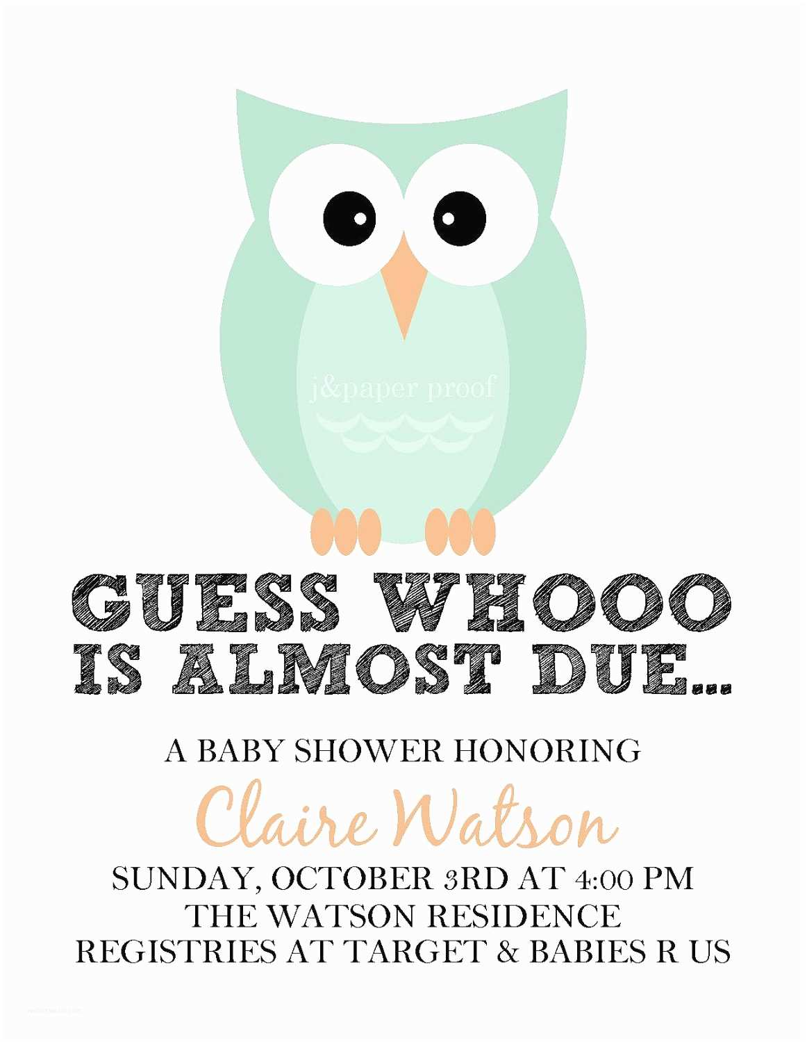 Owl Invitations for Baby Shower Owl Baby Shower Invitations Printable Digital File