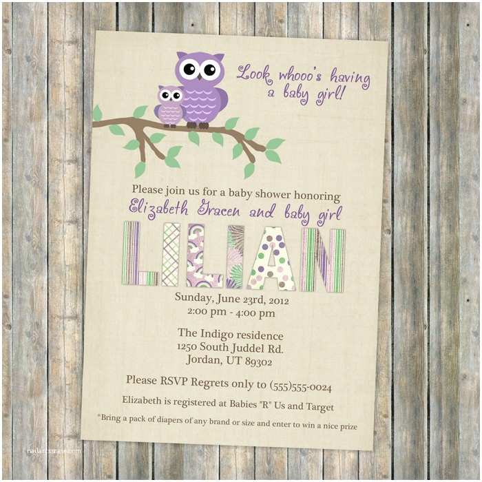 Owl Invitations for Baby Shower Owl Baby Shower Invitations Purple Baby Shower Invitation