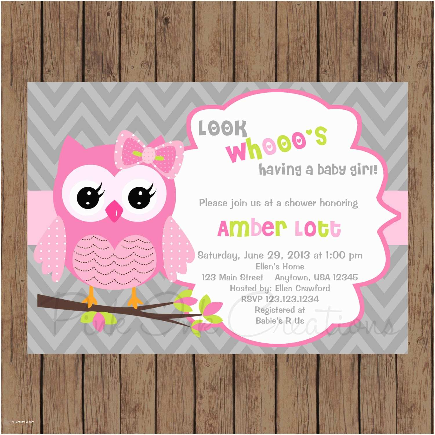 Owl Invitations for Baby Shower Owl Birthday Invitation Pink Gray Owl Baby Shower Invitation