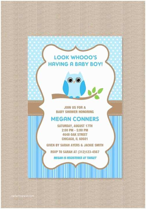 Owl Invitations for Baby Shower Owl Boy Baby Shower Invitations