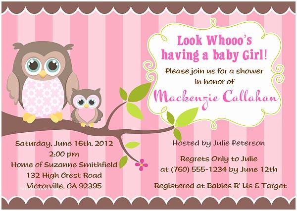 Owl Invitations for Baby Shower Owl Girl Baby Shower Invitations Owl Baby Shower Boy