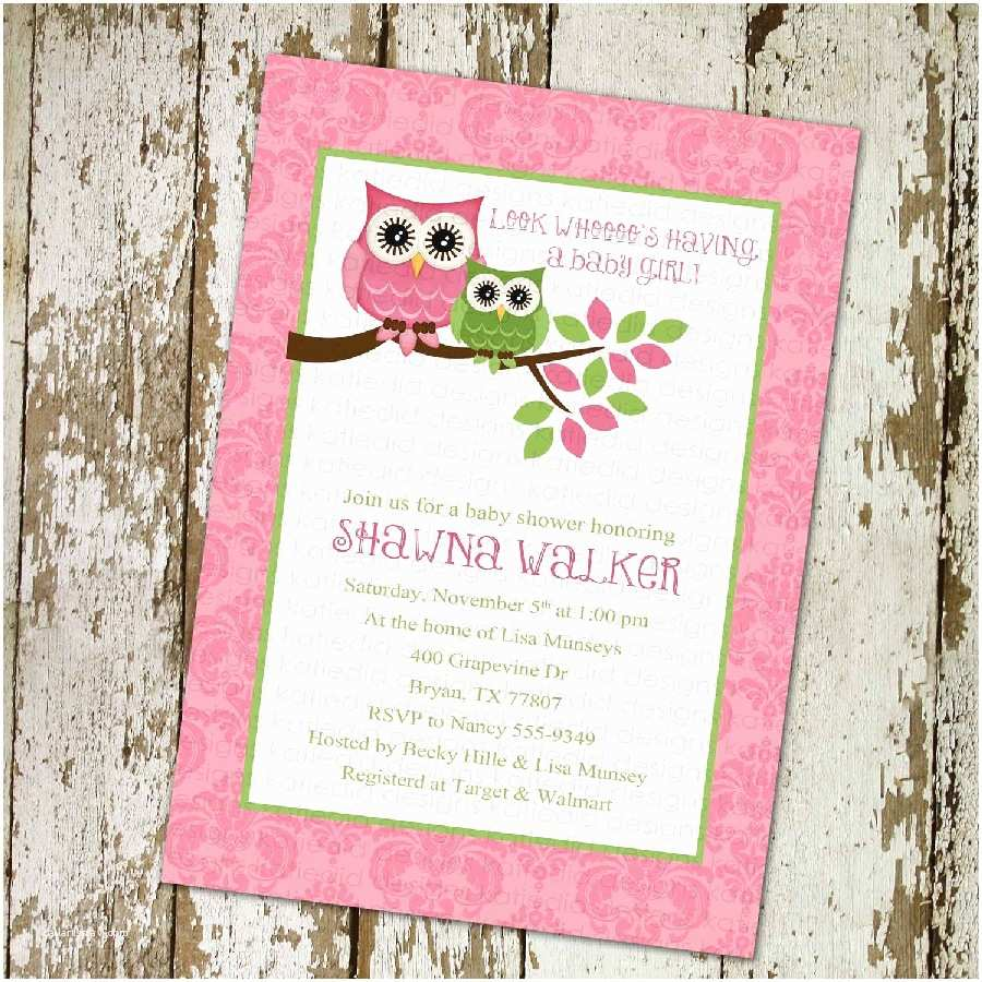 Owl Invitations for Baby Shower Pink Owl Baby Shower Invitations