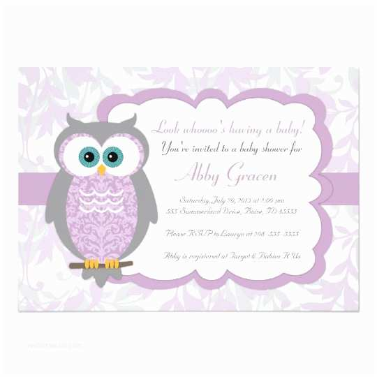 Owl Invitations for Baby Shower Purple Gray Owl Baby Shower Invitations 730