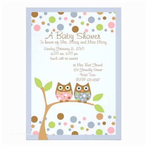 Owl Invitations for Baby Shower Twin Owl Baby Shower Invitation 13 Cm X 18 Cm Invitation