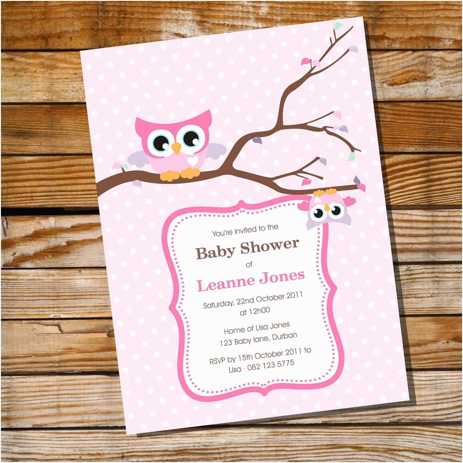 Owl themed Baby Shower Invitations Cute Baby Owl Invitation for A Girl Baby Shower Instantly