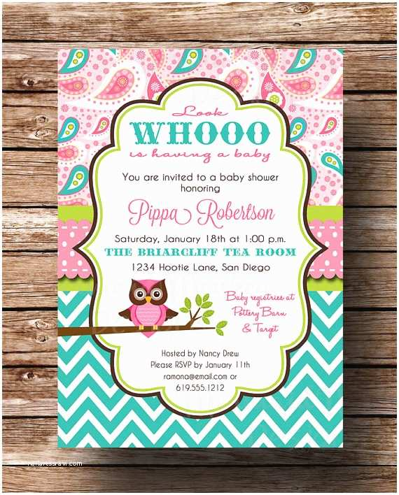Owl themed Baby Shower Invitations Owl Baby Shower Invitation Baby Girl by Mermaidmonkeydesigns