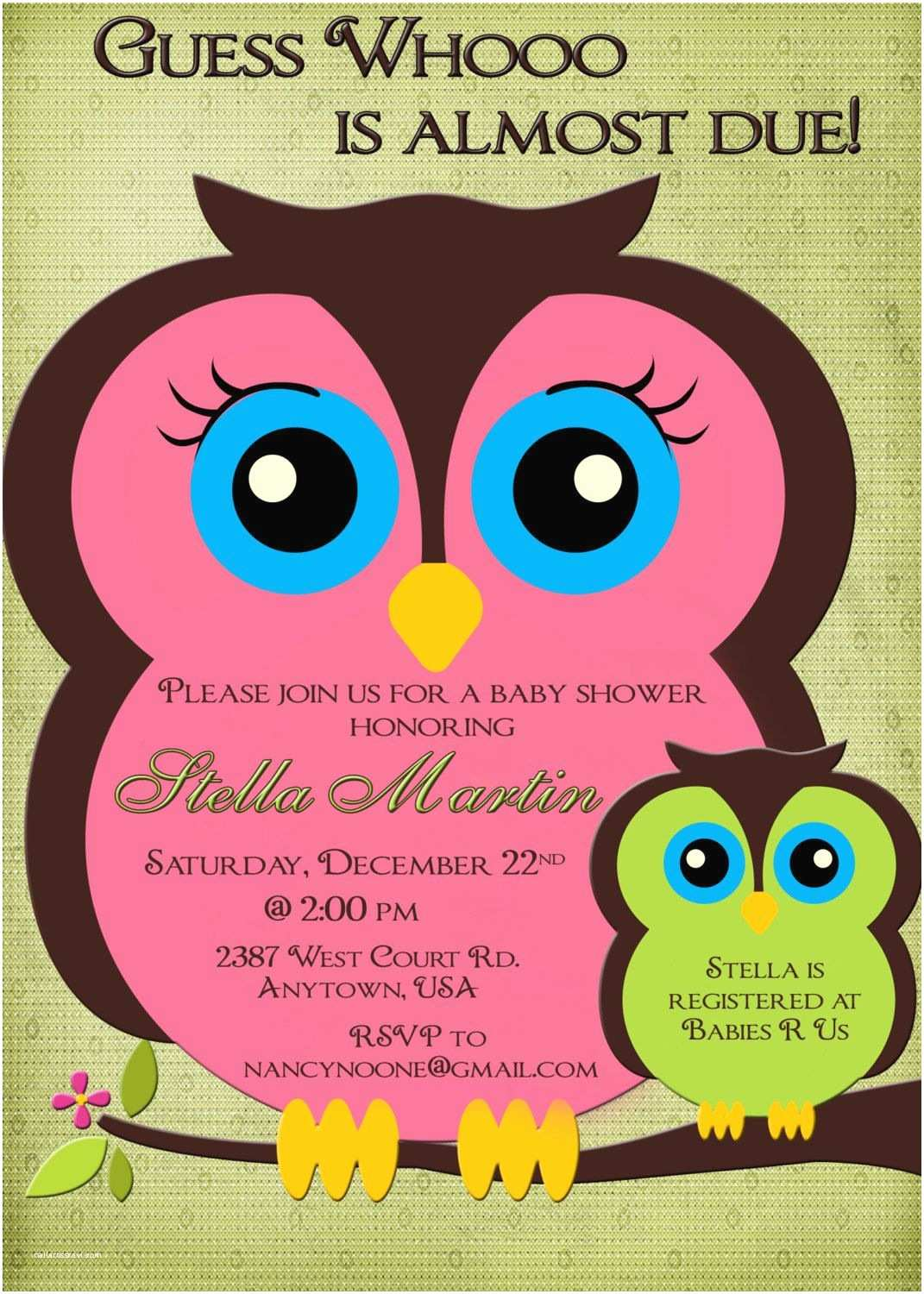 Owl themed Baby Shower Invitations Owl Baby Shower Invitation Boy or Girl Pink and Green Mom