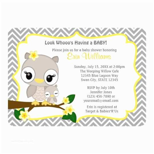 Owl themed Baby Shower Invitations Owl Baby Shower Invitation Chevron Gray Yellow 160