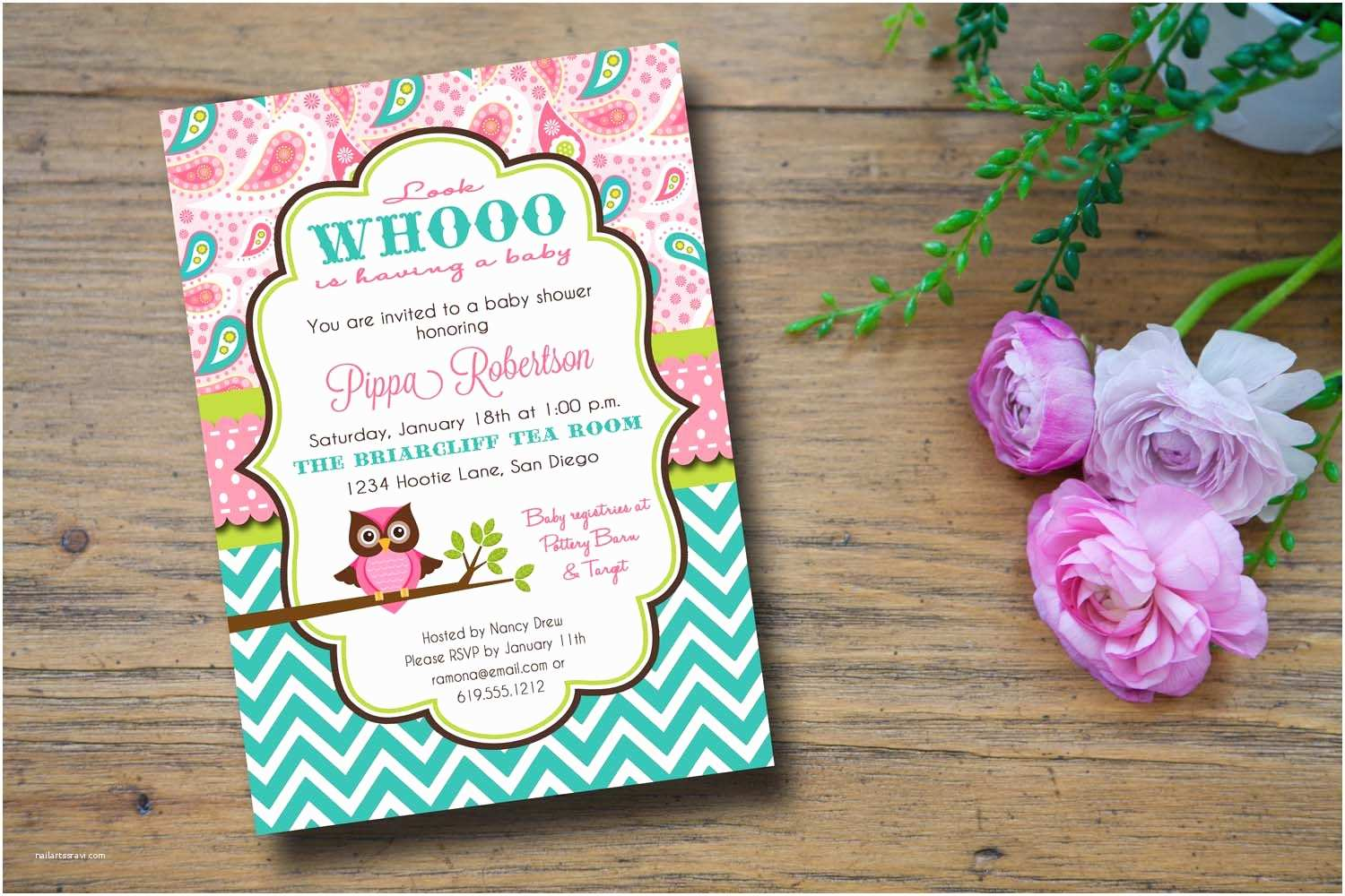 Owl themed Baby Shower Invitations Owl themed Baby Shower Invitation
