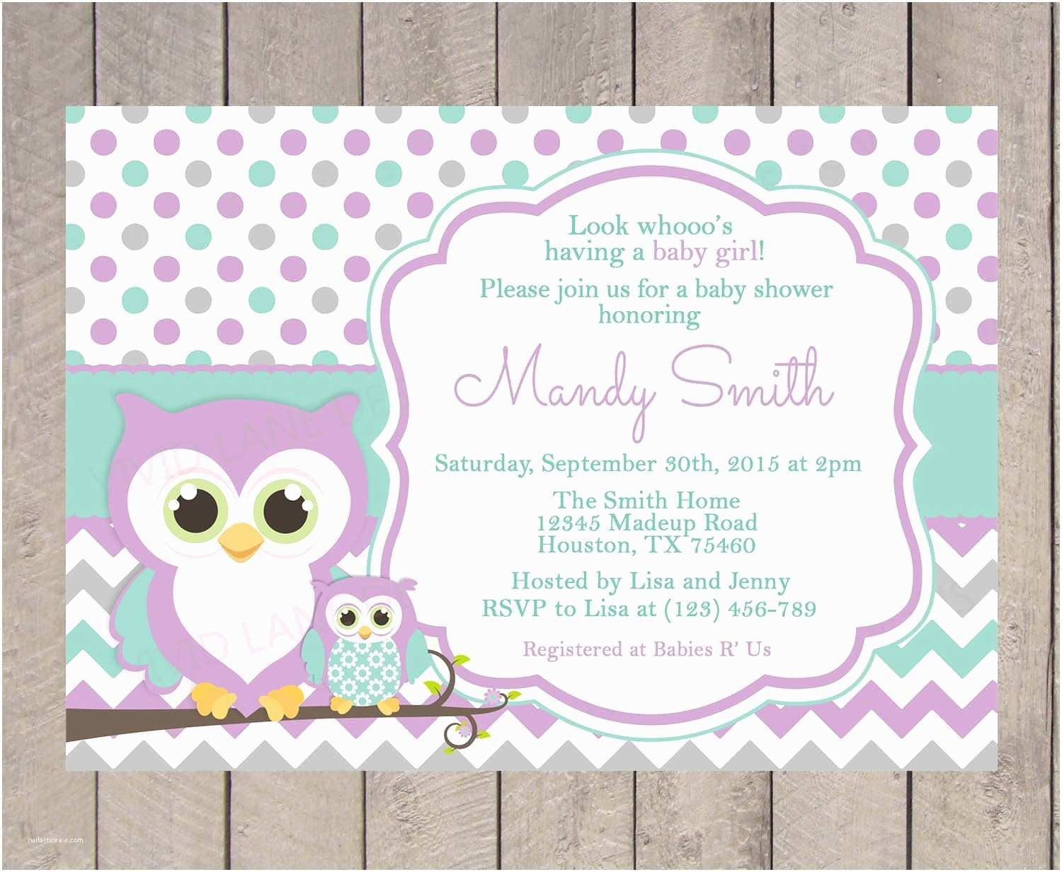 Owl themed Baby Shower Invitations Owls Baby Shower Invitation Purple Teal and by