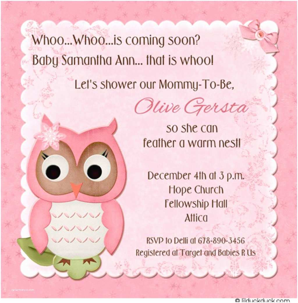 Owl themed Baby Shower Invitations Sweety Owl Baby Shower Celebration Invitation Card with