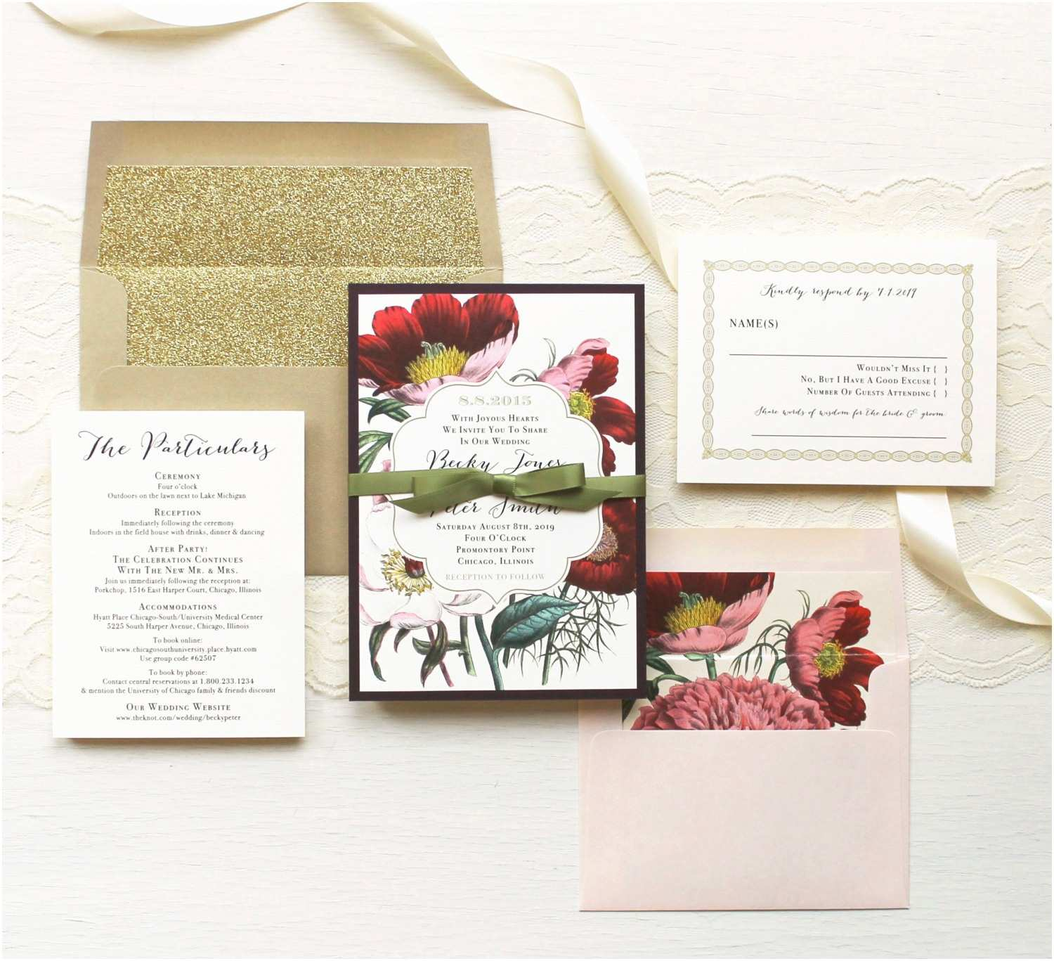 Page Wedding Invitations Floral Boho Wedding Invitations Plum and Gold Wedding
