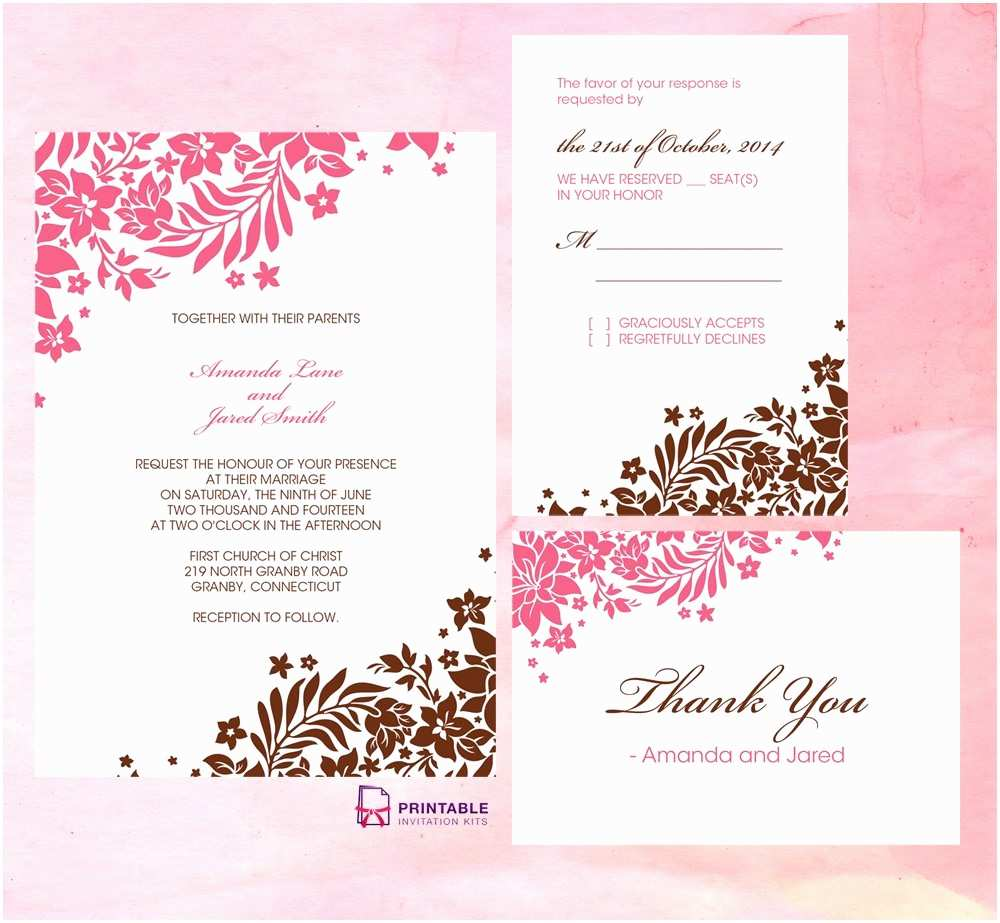 Page Wedding Invitations Pink and Brown Foliage Wedding Invitation