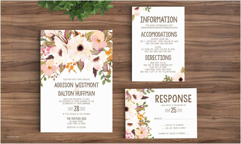 Page Wedding Invitations Wedding Invitation Template Printable Rustic Bohemian Floral