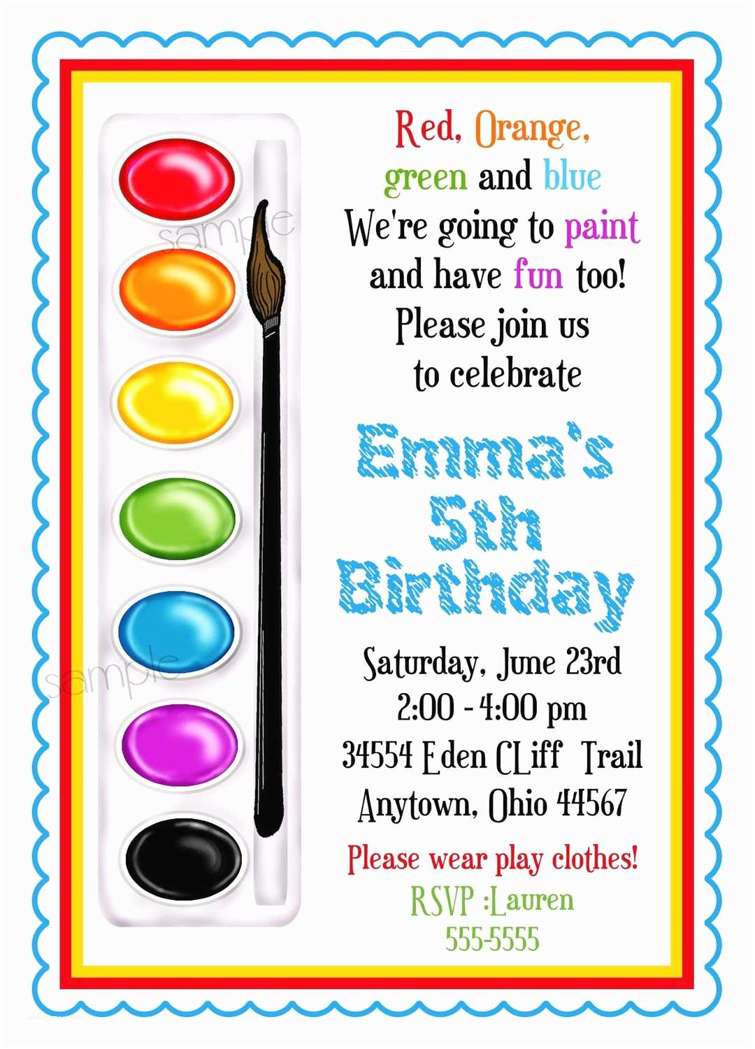 Paint Party Invitations Art Invitations Painting Party Birthday Party Paint Box