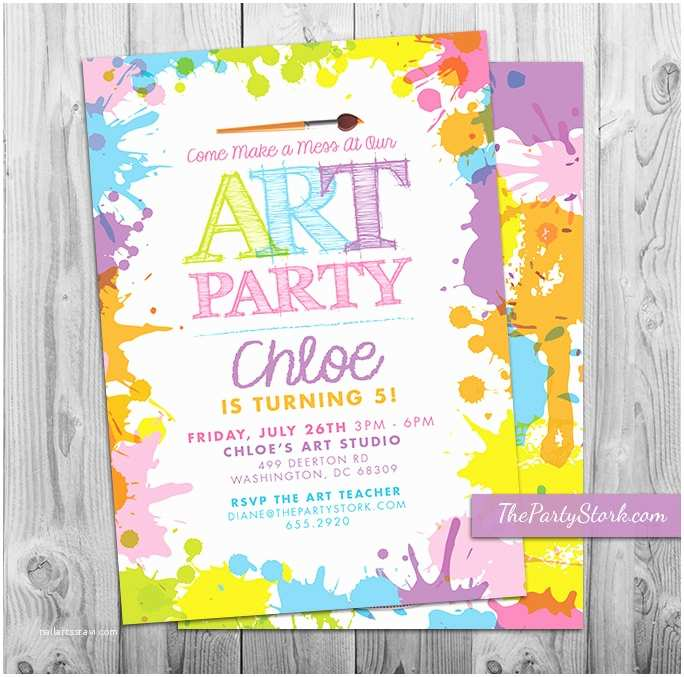 Paint Party Invitations Art Paint Party Invitations Printable Birthday Invitation