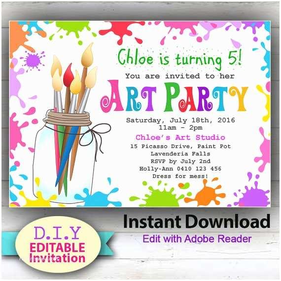 Paint Party Invitations Editable Printable Art Party Invitation Children S