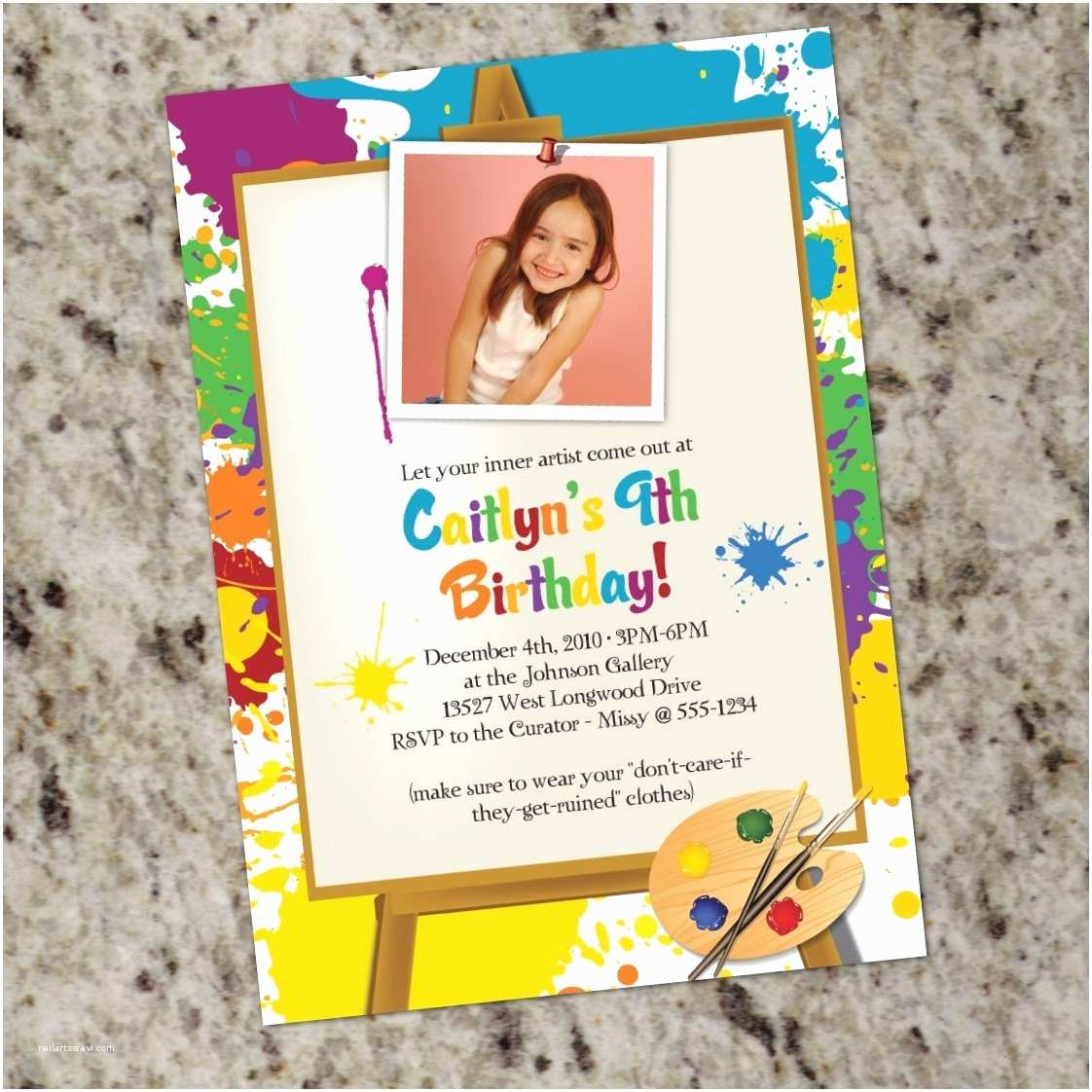 Paint Party Invitations Little Artist Art Painting Birthday Party Invitations