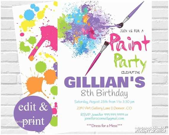Paint Party Invitations Paint Party Invitation