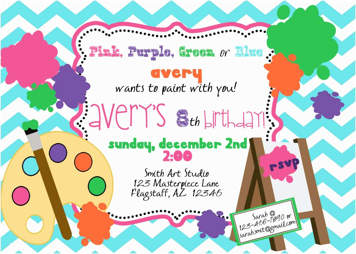 Paint Party Invitations Paint Party Invitation Printable Invite by Luv Bug by