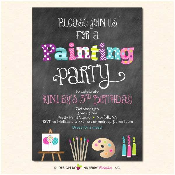 Paint Party Invitations Painting Art Party Invitation Chalkboard Style with Art