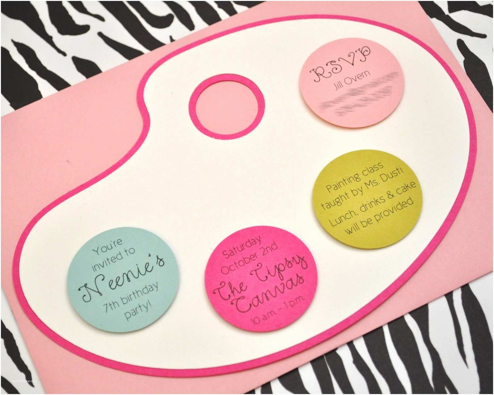 Paint Party Invitations Peas & Thank You S Neenie S 7th Birthday A Pink & Zebra