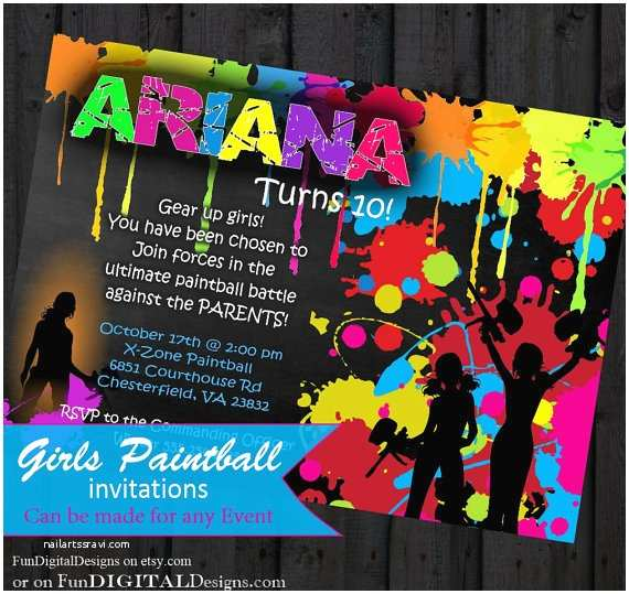 Paintball Party Invitations Girls Birthday Paintball Party Invitation Birthday Party