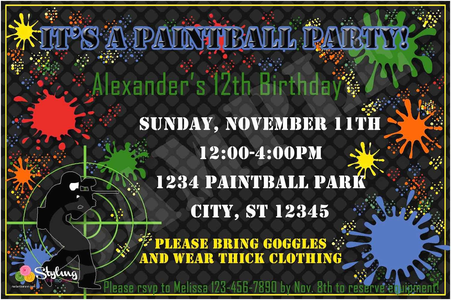 Paintball Party Invitations Paintball Party Invitation