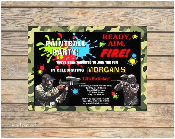 Paintball Party Invitations Paintball Party Invitation Printable Paint Ball Birthday