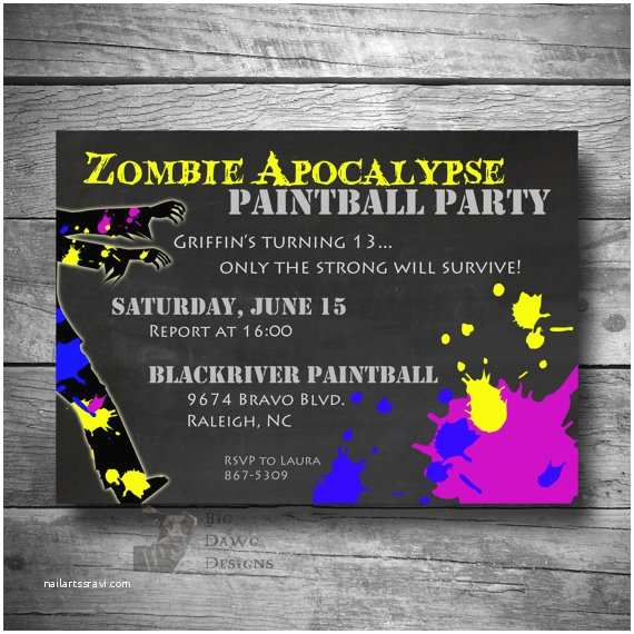 Paintball Party Invitations Paintball Party Invitation Zombie Apocalypse Paintball Party