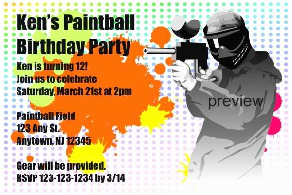 Paintball Party Invitations Paintball Party Invitations