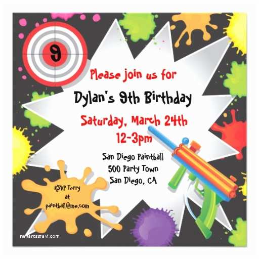 Paintball Party Invitations Personalized Paintball Party Invitations