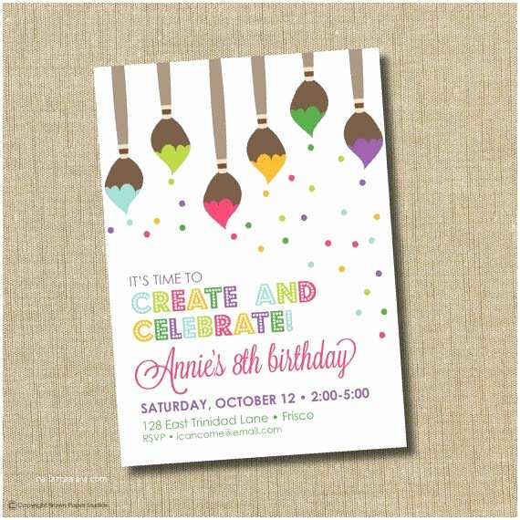 Painting Birthday Party Invitations 25 Best Ideas About Art Party Invitations On