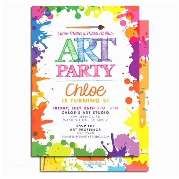 Painting Birthday Party Invitations Art Birthday Party Invitation