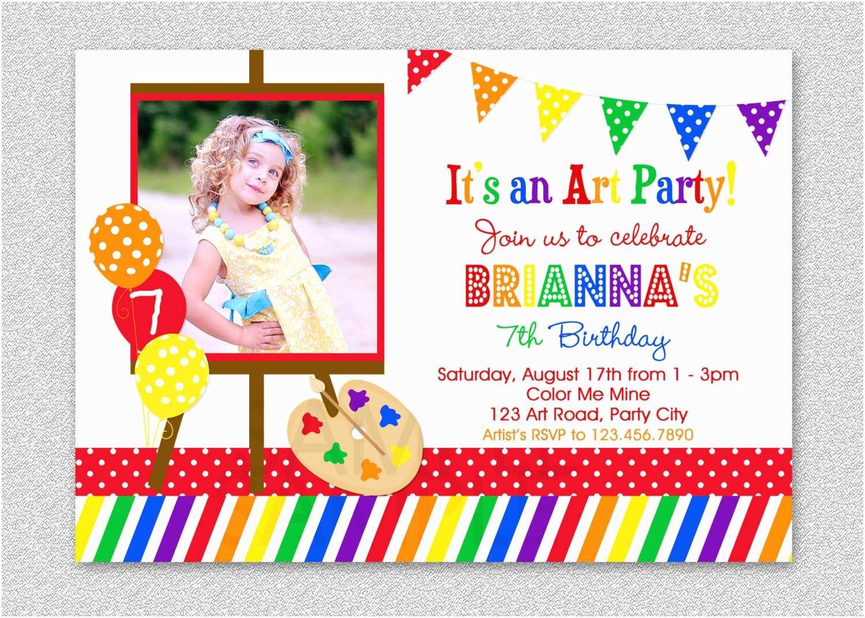 art birthday party invitation rainbow