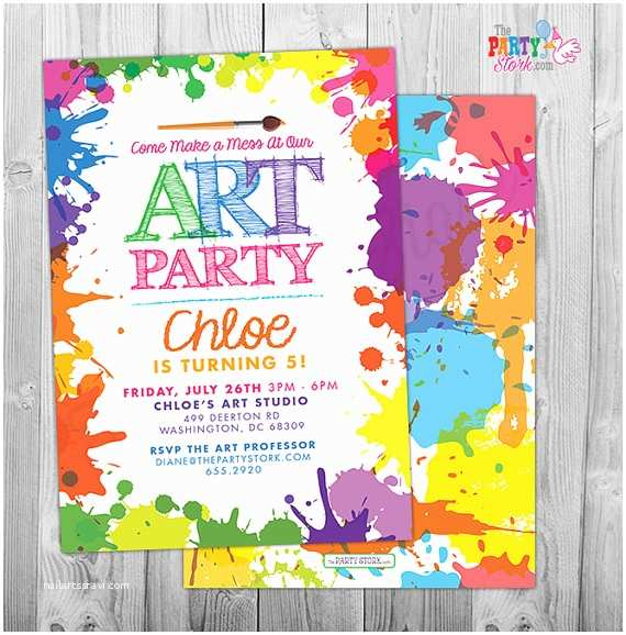 Painting Birthday Party Invitations Art Paint Party Invitations Printable Birthday Invitation
