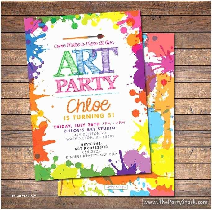 Painting Birthday Party Invitations Art Paint Party Invitations Printable Birthday Invitation
