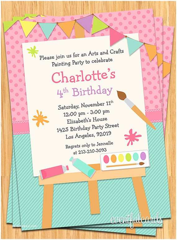 Painting Birthday Party Invitations Art Painting Birthday Party Invitation for Kids by