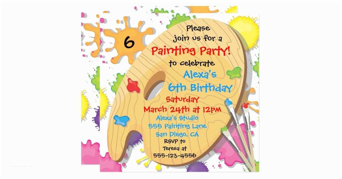 Painting Birthday Party Invitations Art Painting Birthday Party Invitations