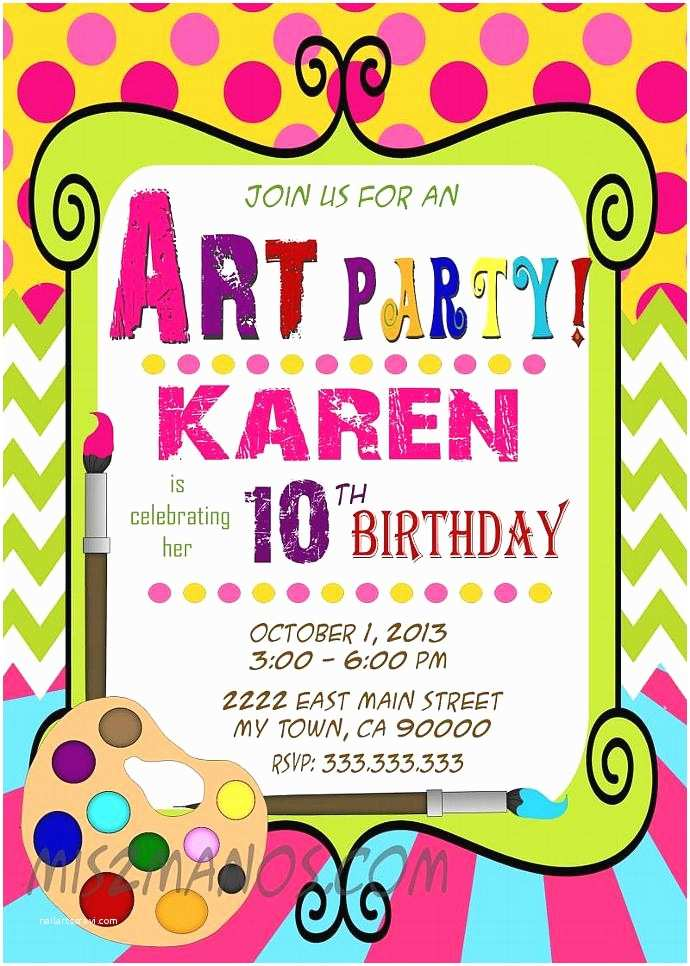 Painting Birthday Party Invitations Art Party Invitation Art Birthday Paint
