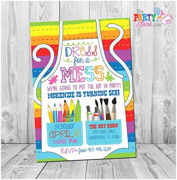 Painting Birthday Party Invitations Art Party Invitation Art Party Art Birthday Invitation Art