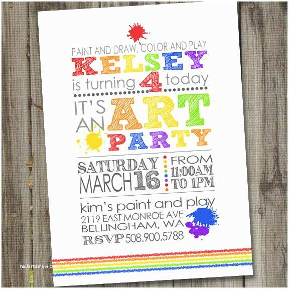 Painting Birthday Party Invitations Art Party Invitation Art Party Invites Art Birthday Party