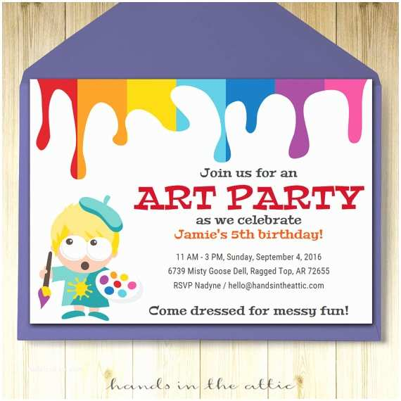 Painting Birthday Party Invitations Art Party Invitation Card Template Printable Kids